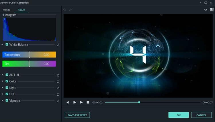 Image of the Filmora9 color correction tools popup.