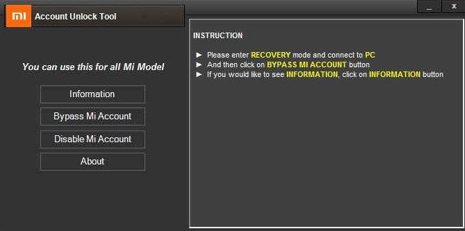Mi account unlock tool screenshot